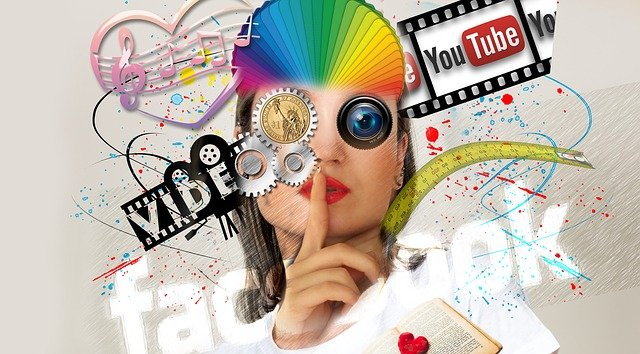 a girl decorated with video abstract images showcasing social media marketing in abu dhabi for creating brand awareness